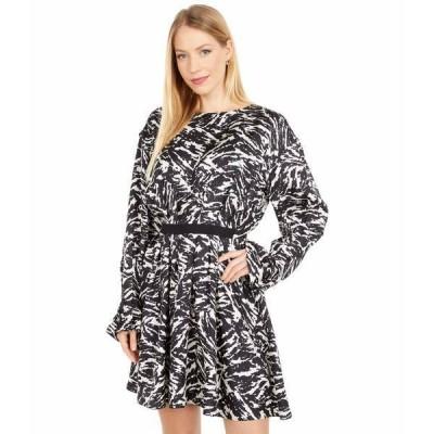ジェイソンウー ワンピース トップス レディース Long Sleeve Crew Neck Zebra Print Dress Black/Porcelain