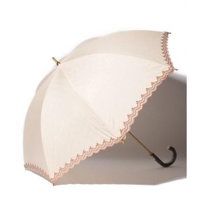 【ザ ベアフット】 ∴晴雨兼用 UVバリア コットンポリ裾ボーラー刺繍ショートアンブレラ 長傘  日傘 雨傘 27076 レディース BEIGE FREE THE BAREFOOT