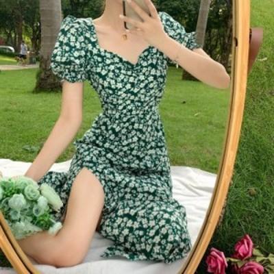 夏 ワンピース レディース 花柄 膝丈ワンピース 可愛い フランス風 お洒落 着痩せ 20代 30代