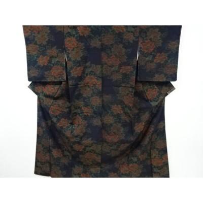 リサイクル 花模様織り出し十日町紬着物