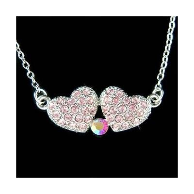 ネックレス インポート スワロフスキ クリスタル ジュエリー 2 PINK Heart made with Swarovski Crystal Love Friends Lover Mothers Day Necklace