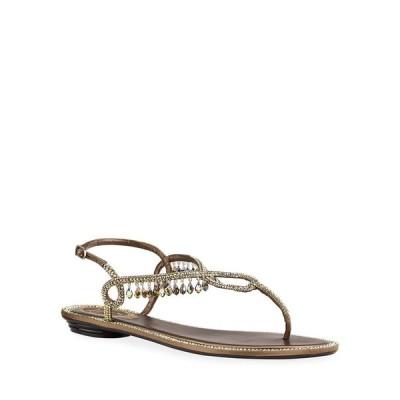 レネ・カオヴィラ レディース サンダル シューズ Flat Napa Thong Sandals with Crystal Drops