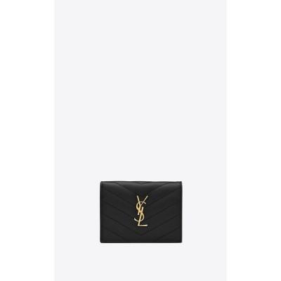 サンローラン SAINT LAURENT カードケース 名刺入れ パスケース コインケース ブラック ゴールド レザー