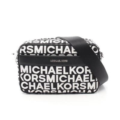 マイケル コース MICHAEL KORS KENLY LG POCKET XBODY ショルダーバッグ キャンバス レザー ブラック ホワイト 35S0SY9C3J レディース 中古