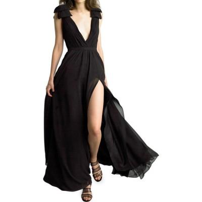 Basix レディース パーティードレス ワンピース・ドレス shoulder bow crepe gown ブラック