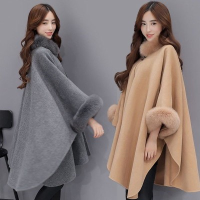 暖かい 女性用 ゆったり ラシャコート レディースファッション おしゃれ ポンチョ トップス