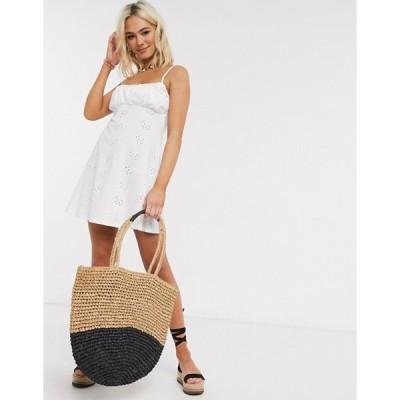 エイソス レディース ワンピース トップス ASOS DESIGN broderie ruched front mini strappy dress in white