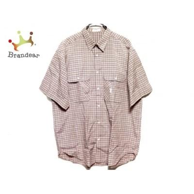 パパス Papas 半袖シャツ サイズM メンズ アイボリー×ネイビー×ピンク チェック柄  値下げ 20210114