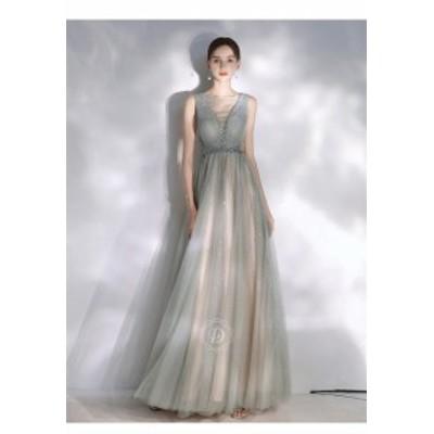 グレー パーティドレス ロングドレス ワンピース ナイトドレス チュールスカート  結婚式 二次会 発表会 演奏会 撮影 D161