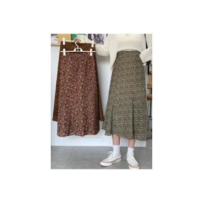 【送料無料】半 ゴム入りのウエスト フローラル ミディ丈 裾 スカート 秋 韓国風 ファッション | 364331_A63786-1607224