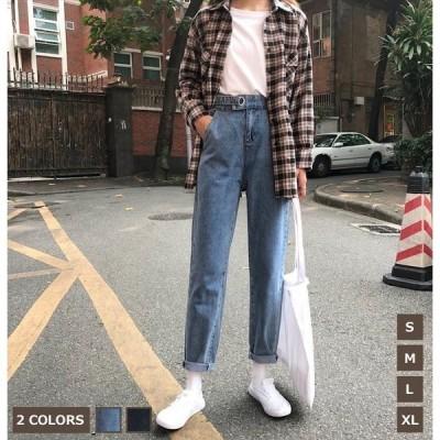 デニムパンツ9分丈パンツ小さい大きいサイズレディースブルーパンツハイウエストズボンジーンズストレートボトムスジーンズ着痩せ大きいサイズパンツXL