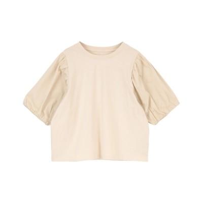 tシャツ Tシャツ 異素材ドッキングバルーンスリーブトップス