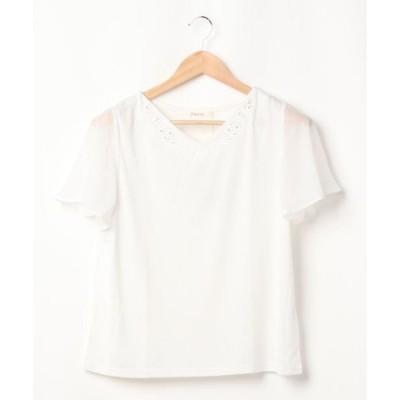 tシャツ Tシャツ ★高機能★シフォンスリーブ刺繍トップス(0R15-06122)