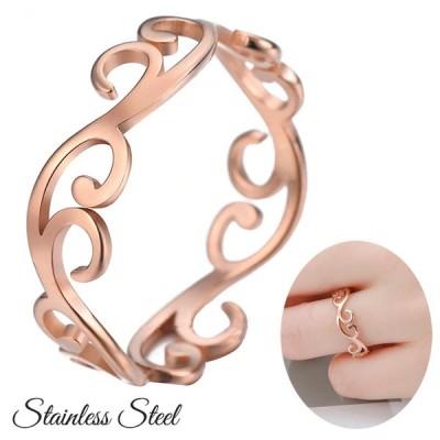 ステンレス リング 指輪 ピンクゴールド フィリグリー ステンレスアクセサリー レディース アクセサリー メンズアクセサリー ユニセックス ペアリング