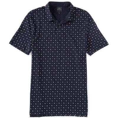 アルマーニエクスチェンジ メンズ ポロシャツ トップス Logo Wave Short-Sleeve Polo Shirt Navy