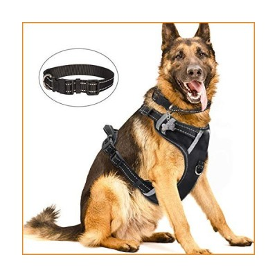 WINSEE Dog Harness No Pull, Pet Harnesses with Dog Collar, Adjustable Reflective Oxford Outdoor Vest, Front/Back Leash Clips for Small, Medium, Large,