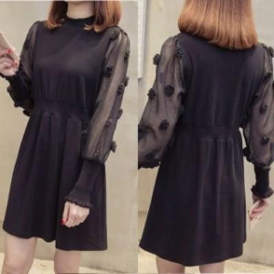 ミニドレス パーティードレス ミニ ドレス ワンピース 膝丈 袖付き ブラック 大きいサイズ 長袖 Aライン 透け感