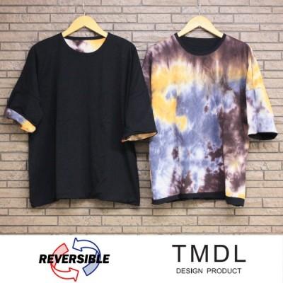 TMDL 《 無地 × タイダイ 染 リバーシブル ルーズ カットソー 》 ビッグT 黒Tシャツ ルーズT タイダイT リバーシブルT