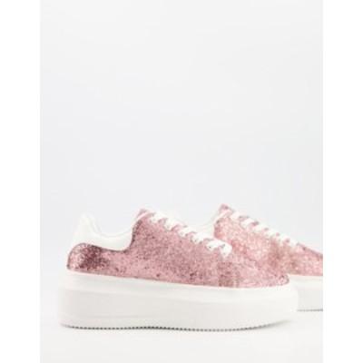 エイソス レディース スニーカー シューズ ASOS DESIGN Dorina chunky sole sneakers in pink glitter Pink glitter