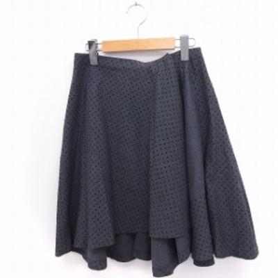 【中古】ツモリチサト TSUMORI CHISATO スカート ドット柄 フレア ひざ丈 フィッシュテール 2 グレー /FT46 レディース