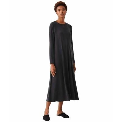 エイリーンフィッシャー ワンピース トップス レディース Crew Neck Full-Length Dress Black