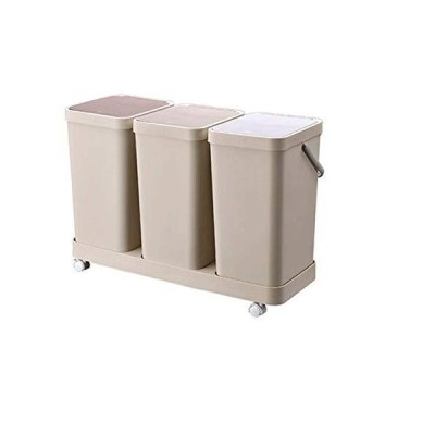 CffdoiLJT Garbage Can, Dry and Wet Separation Trash Can Double Barrel Classification Garbage Bins Household Kitchen Large Trash Can with Lid