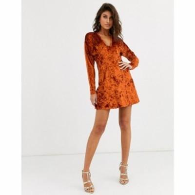 エイソス ASOS DESIGN レディース ワンピース ミニ丈 ワンピース・ドレス long sleeve plunge velvet mini dress ラスティック