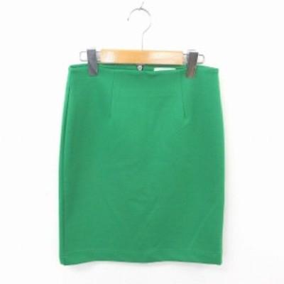 【中古】レイビームス Ray Beams スカート タイト ひざ丈 無地 シンプル バックジップ 0 緑 グリーン /TT14