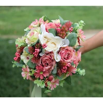 花ウエディングブーケブーケ花束ブライダルブーケ披露宴歓迎会結婚式手作り高級造花お誕生日大人気お祝いウェディング用花嫁造花プレゼント