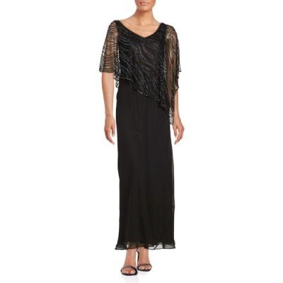 ジェイカラ J Kara レディース パーティードレス ワンピース・ドレス beaded popover gown ブラック