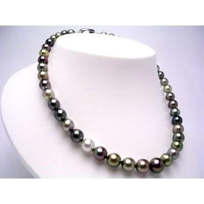 真珠 ネックレス パール 厚巻良質・ナチュラルカラー 黒蝶真珠 真珠ネックレス パールネックレス 7.8-11.0mm 8203
