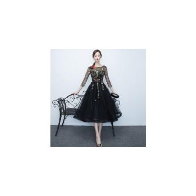 花柄 刺繍 シースルー 七分袖 ウエストリボン ミディ丈 フレア チュール ドレス ワンピース オケージョン