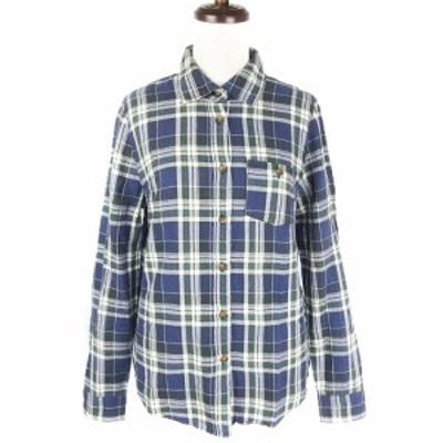 【中古】アーバンリサーチ サニーレーベル シャツ カットソー 長袖 薄手 コットン チェック F 紺 トップス レディース