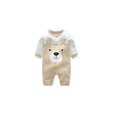 エルフ ベビー(Fairy Baby) ベビー 服 新生児 カバーオール ロンパース 前開き 長袖 可愛いクマ柄 カーキ 9M