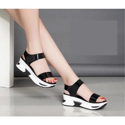 オシャレ オープントゥ あつぞこ靴 令和 サンダル レディース 5.5cmヒール 無地 カジュアル 履きやすい 美脚 ゴムフィット レディース靴 20代30代40代