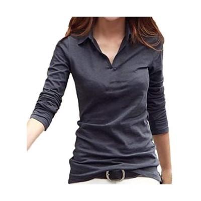 [サコイユ] カットソー Tシャツ 長袖 襟付き トップス シャツ Vネック 薄手 綿 綿シャツ 綿トップス コットン こっとん (グレー M)