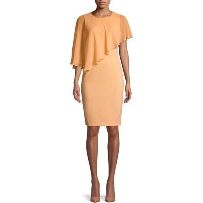カルバンクライン Calvin Klein レディース パーティードレス ワンピース・ドレス Asymmetric Overlay Sheath Dress