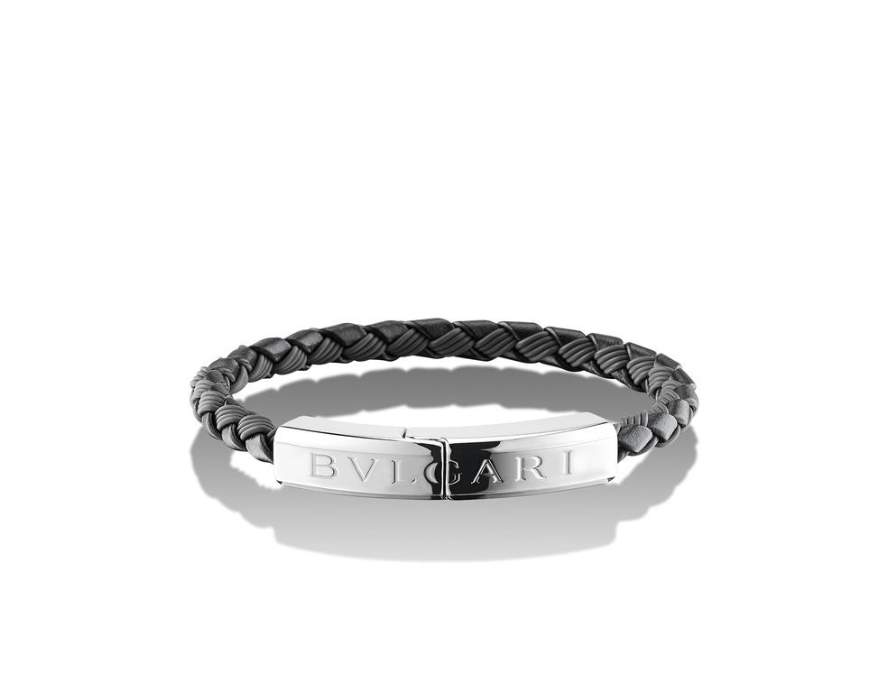 BB MAN 皮革編織銀手環 - 黑色