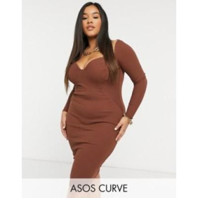 エイソス レディース ワンピース トップス ASOS DESIGN Curve off shoulder rib panelled long sleeve midi dress in caramel Caramel