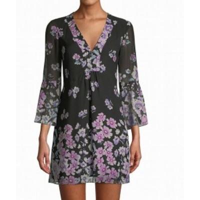 Nanette Lepore ナネットレポー ファッション ドレス Nanette Lepore Womens Dress Black Size 4 Shift Silk 3/4 Sleeve Floral