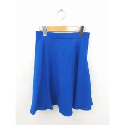 【中古】ビス ViS タグ付き スカート フレア ひざ丈 薄手 無地 シンプル M 青 ブルー /TT38 レディース