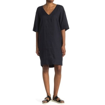 ステートサイド レディース ワンピース トップス Linen V-Neck Cocoon Dress NAVY