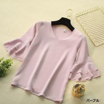 シフォンシャツ レディース 半袖シフォンシャツ 大きいサイズ トップス フレアスリーブ 体型カバー レディース 3515