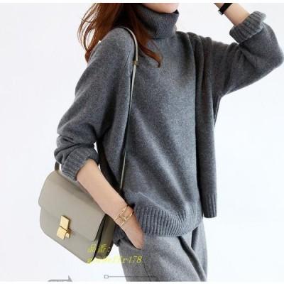 レディースニットセーター Vネック ニットトップス ゆったり 人気 おしゃれ 秋冬 セーター ドルマンスリーブバルーン袖 着やすい