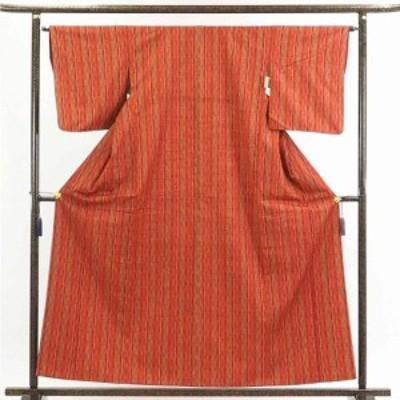 【中古】リサイクル着物 紬 / 正絹赤地よろけ縞袷紬着物 / レディース【裄Mサイズ】