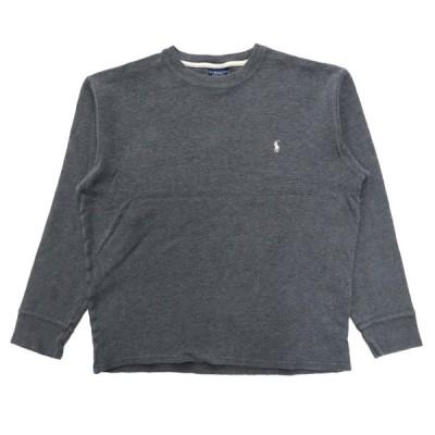 古着 ポロラルフローレン サーマル ワッフル ロングスリーブTシャツ ロンT ワンポイント グレー サイズ表記:XL