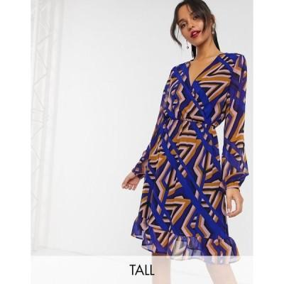 ヴェロモーダ レディース ワンピース トップス Vero Moda Tall geo print wrap dress Mazarine blue