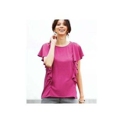 ラナン Ranan 汗ジミ防止機能付フリルトップス (ピンク)