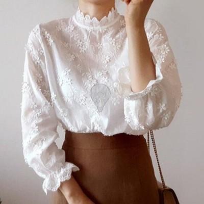 ホワイトシャツ レディース 刺? 花 夏 春 チュニック 長袖 襟付き オシャレ 人気 20代 30代 40代 カジュアル 優雅 夏 トップス