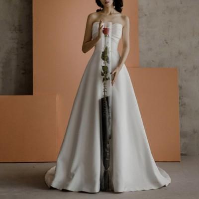ウェティグドレス Aラインドレス パーティードレス ロングドレス 結婚式 二次会 海外挙式 花嫁 安い 大きいサイズ 発表会 おしゃれ 前撮り 披露宴 トレーン